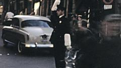 Florence 1950s: traffic policeman in the street Stock Footage