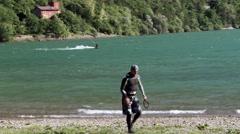 Kitesurf-windsurf on the lake-004 Stock Footage