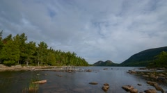 Jordan Pond Clouds Passing By Stock Footage