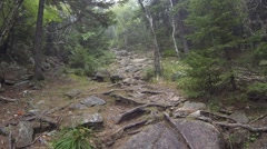 Hiker going up a trail Stock Footage