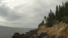 Bass Harbor Lighthouse Ominous Clouds Stock Footage
