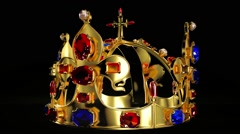 Royal crown with jewelry decoration looped rotate Stock Footage
