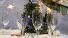 New Year's champagne glasses - stock footage