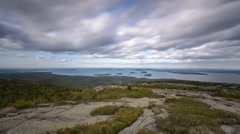 Cadillac Mountain on a cloudy day Stock Footage