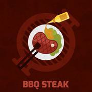 Bbq Steak Poster - stock illustration
