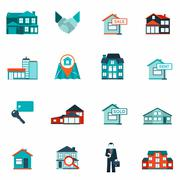 Real Estate Icon Flat - stock illustration