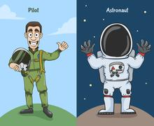Astronaut And Pilot Characters Stock Illustration