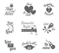 Romantic labels icons set - stock illustration