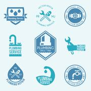 Plumbing labels icons set - stock illustration