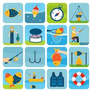Fishing Icons Set - stock illustration