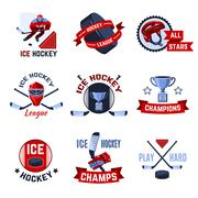 Hockey Emblems Set - stock illustration