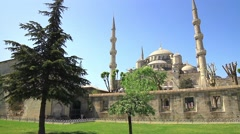 View of Blue Mosque in Spring Stock Footage