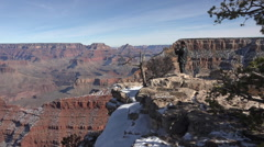 Grand Canyon winter Oriental tourist lookout HD 097 Stock Footage