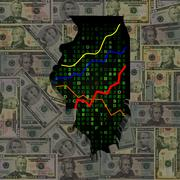 illinois map with hex code and graphs on dollars illustration - stock illustration