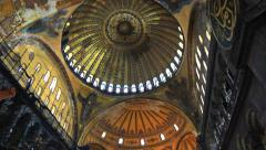 Inside Hagia Sophia. Tilt from dome to the floor Stock Footage
