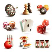 Game icons set - stock illustration