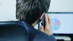 Man talking on the phone, analysis  Stock Footage