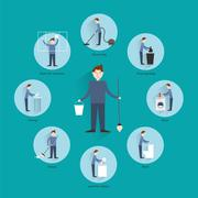 Cleaning people concept - stock illustration