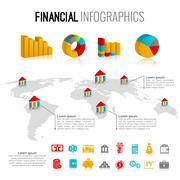 Financial infographic set - stock illustration