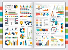 Flat infographic set Stock Illustration