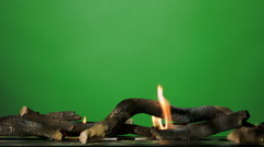 Fireplace fire flame on green screen 4K - stock footage