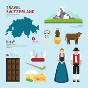 travel concept switzerland landmark flat icons design .vector illustration - stock illustration