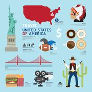 travel concept usa landmark flat icons design .vector illustration - stock illustration