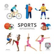 infographic health sport and wellness flat icons template design . concept ve - stock illustration