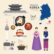 Korea flat icons design travel concept.vector Stock Illustration