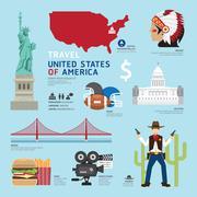 Usa flat icons design travel concept.vector Stock Illustration