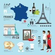 paris,france flat icons design travel concept.vector - stock illustration