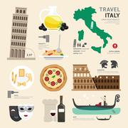 Italy flat icons design travel concept.vector Stock Illustration
