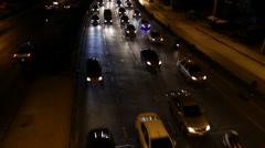 Traffic jam at night Stock Footage