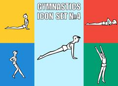 Stock Illustration of Set of yoga poses. Boy in recreation activities