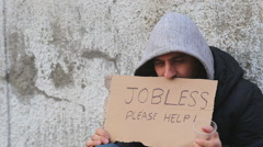 Helping a jobless person on the street Stock Footage