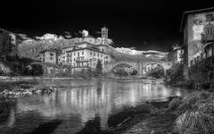 landscape in black and white of village of s. giovanni bianco, in italy - stock photo