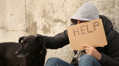 Homeless recieving donation Stock Footage
