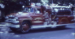 Stock Video Footage of Fire Truck Parade 30s 60s 70s 16mm USA