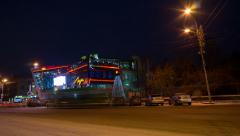 luch cinema in night krasnoyarsk, time lapse - stock footage