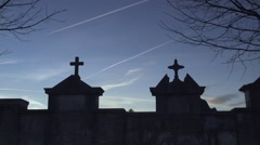 Two Christian cross in the cemetery with sky background and moving clouds Stock Footage