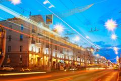 Speed Traffic - Light Trails On City Road At Night Stock Photos