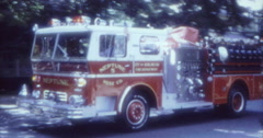 Fire Truck Parade 50s 60s 70s 16mm USA Neptune 5 Stock Footage