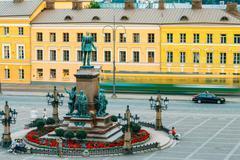 Statue Of Emperor Alexander II Of Russia On Senate Square In Hel Stock Photos