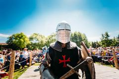Warrior participant of festival of medieval culture Stock Photos