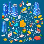Office city infrastructure planning infographic Stock Illustration