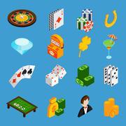 Casino Isometric Icons Set Piirros