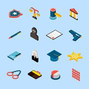 Law Icons Isometric Stock Illustration