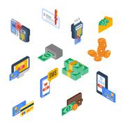Payment Icons Isometric Stock Illustration