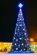 Christmas Tree And Festive Illumination On Lenin Square In Gomel Stock Photos