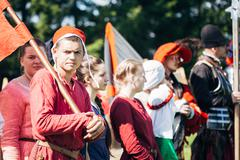 Warriors participants of VI festival of medieval culture Stock Photos